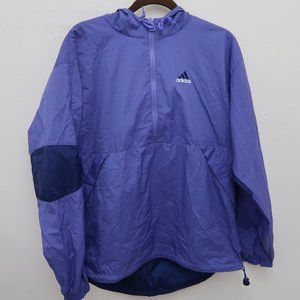 Adidas Hooded 1/2 ip Drawstring Elbow Patch Jacket